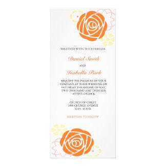 Invitación floral 4 x 9 del boda del amarillo anar