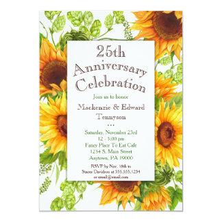 Invitación floral amarilla del aniversario de los