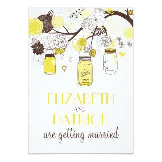 Invitación floral amarilla del boda del verano de