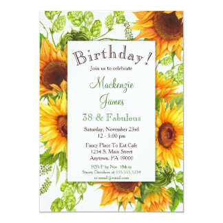Invitación floral amarilla del cumpleaños de los