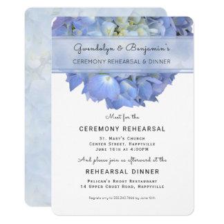 Invitación floral azul de la cena del ensayo de la