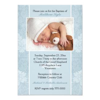 Invitación floral azul de la foto del bautismo
