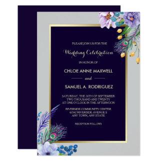 Invitación floral azul del boda de Boho del marco