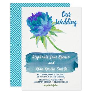 Tarjeta Invitación floral azul del boda de la acuarela