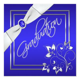 Invitación floral azul y de plata de la graduación