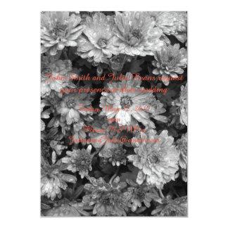 invitación floral blanco y negro del boda