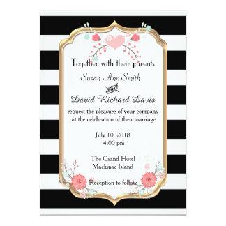 Invitación floral blanco y negro elegante del boda invitación 12,7 x 17,8 cm