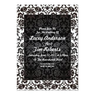 Invitación floral blanco y negro elegante del boda