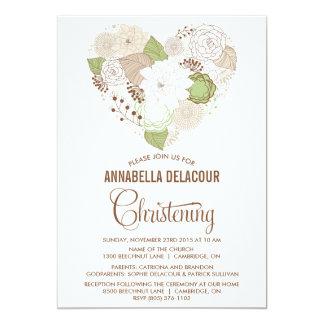 Invitación floral caprichosa del bautizo del