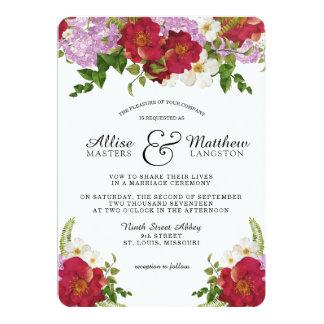 Invitación floral color de rosa del boda