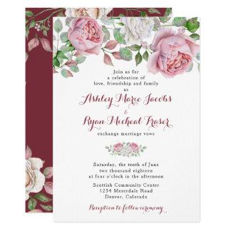 Invitación floral color de rosa elegante rosada