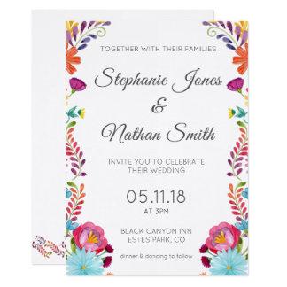 Invitación floral colorida del boda