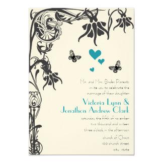 Invitación floral cristiana del boda del art déco
