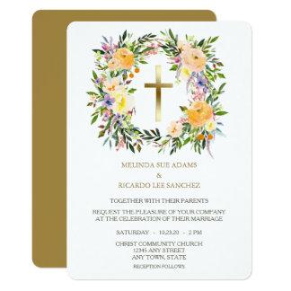 Invitación floral cruzada del boda de la guirnalda