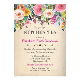 Invitación floral de la acuarela del té de la