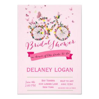 Invitación floral de la bicicleta de la ducha