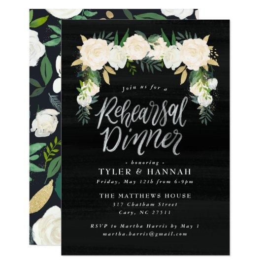 Invitación floral de la cena del ensayo de la