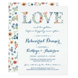 Invitación floral de la cena del ensayo del boda