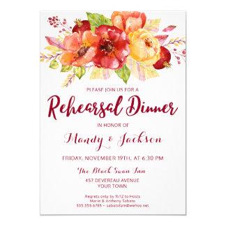 Invitación floral de la cena del ensayo del otoño