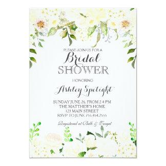 Invitación floral de la ducha blanca del