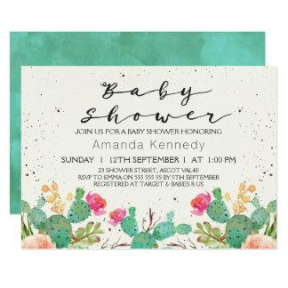 Invitación floral de la fiesta de bienvenida al