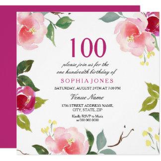 Invitación floral de la fiesta de cumpleaños de la