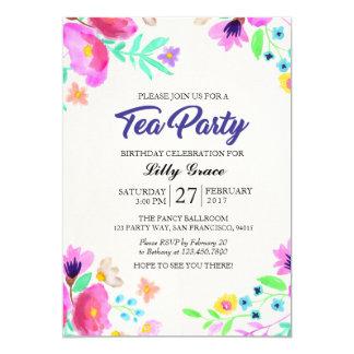 Invitación floral de la fiesta del té del