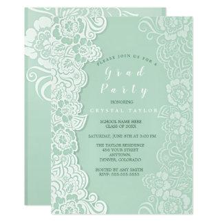 Invitación floral de la graduación de la menta del