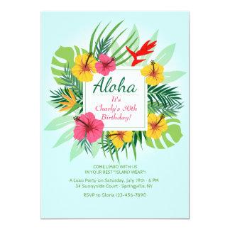 Invitación floral de la hawaiana