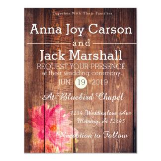 Invitación floral de madera rústica del boda