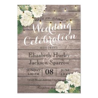 Invitación floral de madera rústica del boda de la