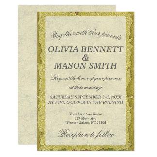 Invitación floral de oro elegante del boda