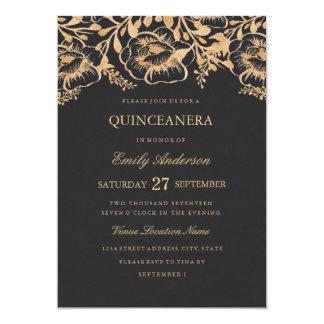 Invitación floral de Quinceanera del oro del