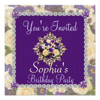 Invitación FLORAL del 50 o cumpleaños de las mujer