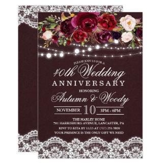 Invitación floral del aniversario de boda del