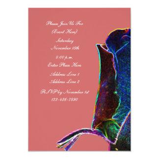 Invitación floral del arte del rosa eléctrico del