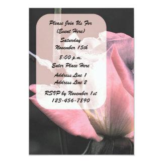 Invitación floral del arte rosado del capullo de invitación 12,7 x 17,8 cm