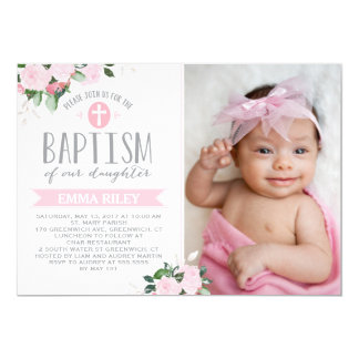 Invitación floral del bautismo de las floraciones