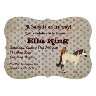 Invitación floral del bebé del caballo blanco y de