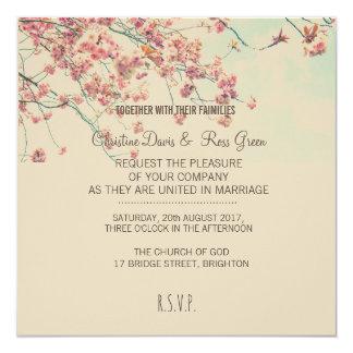 Invitación floral del boda con el cerezo