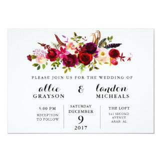 Invitación floral del boda de la acuarela de