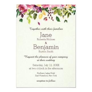 Invitación floral del boda de la acuarela del