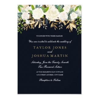 Invitación floral del boda de la acuarela del oro