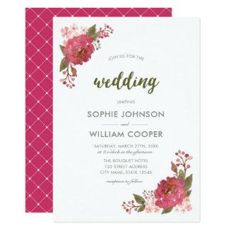 Invitación floral del boda de la acuarela púrpura