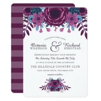Invitación floral del boda de la acuarela violeta