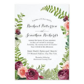 Invitación floral del boda de la fantasía rosada