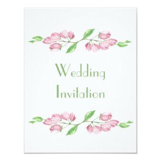 Invitación floral del boda de la flor de cerezo de