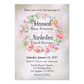 Invitación floral del boda de la guirnalda