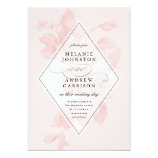 Invitación floral del boda de la hoja del vintage