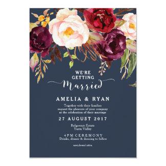 Invitación floral del boda de la marina de guerra